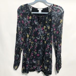 Sundance Catalog Sheer Floral Peasant Blouse